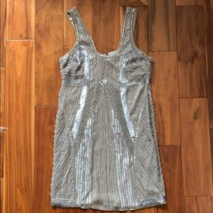 Parker shiny silver beaded cocktail dress